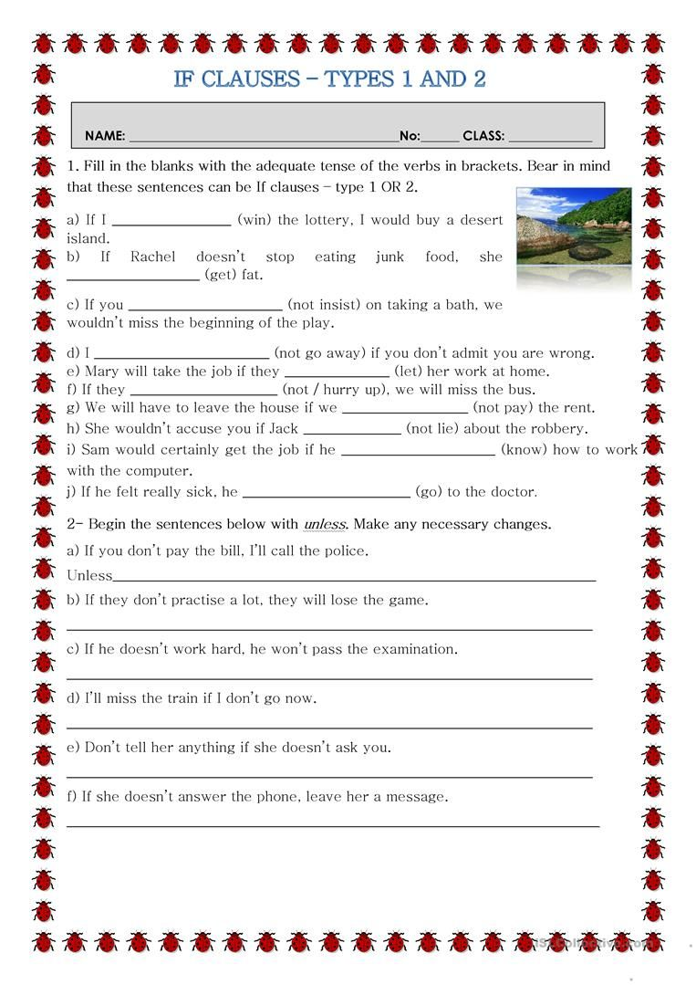 If clauses  Types 1 And 2 Worksheet   Free Esl Printable ...