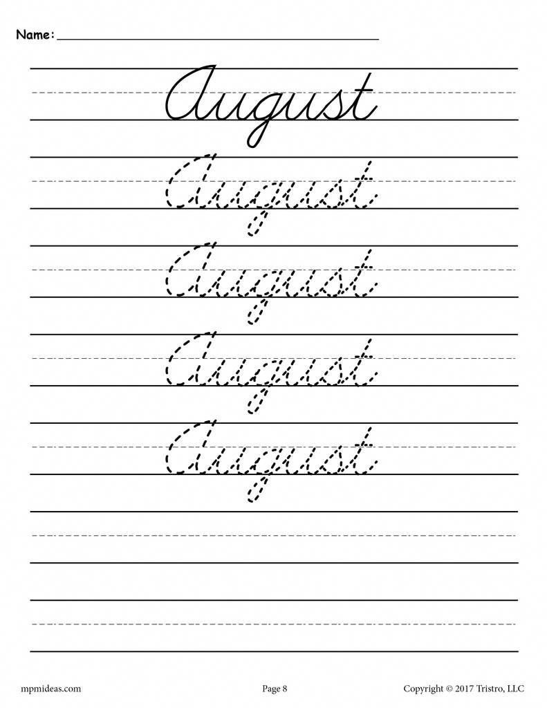 - 12 Free Months Of The Year Cursive Handwriting Worksheets On Best