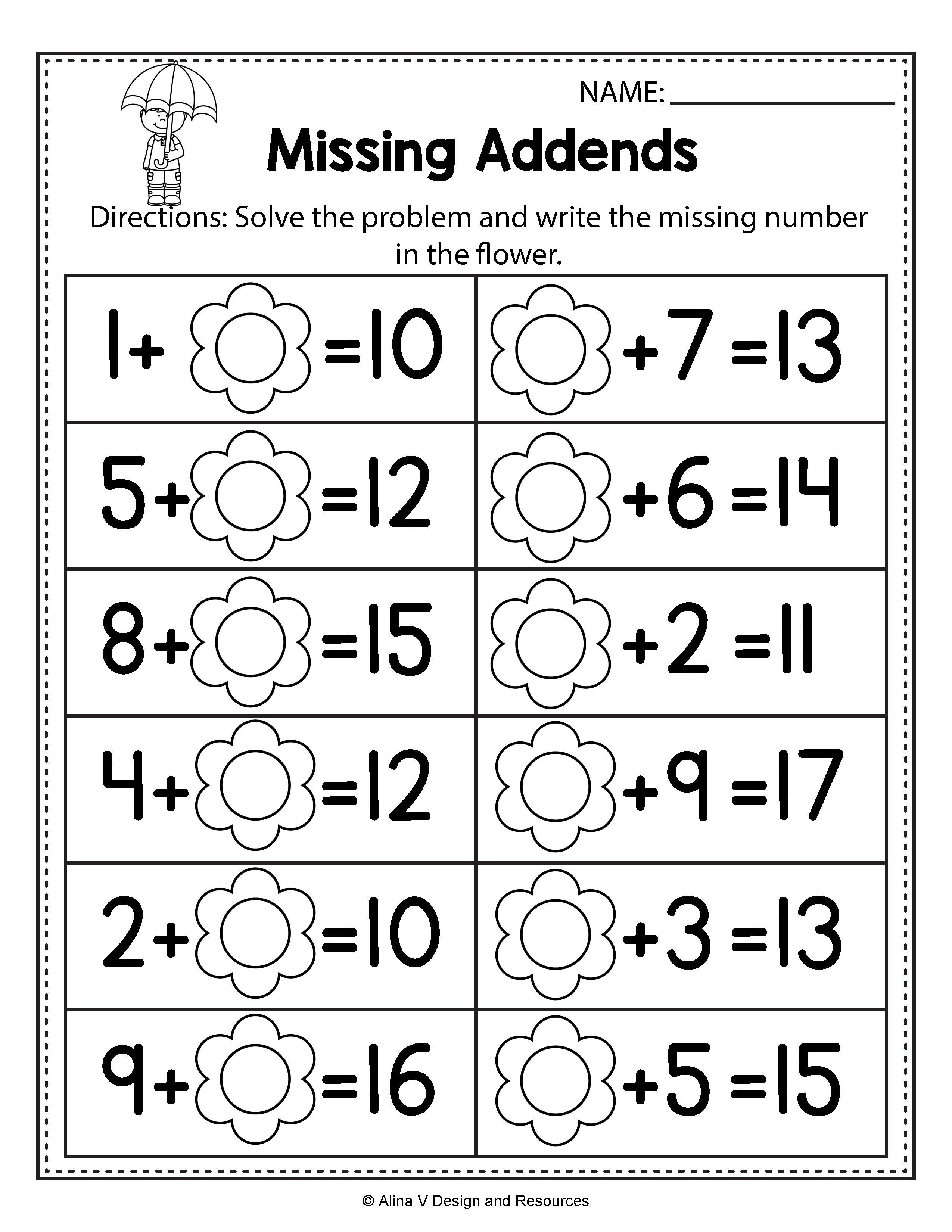 - First Grade Missing Addend Worksheets Refrence Unique Free Missing