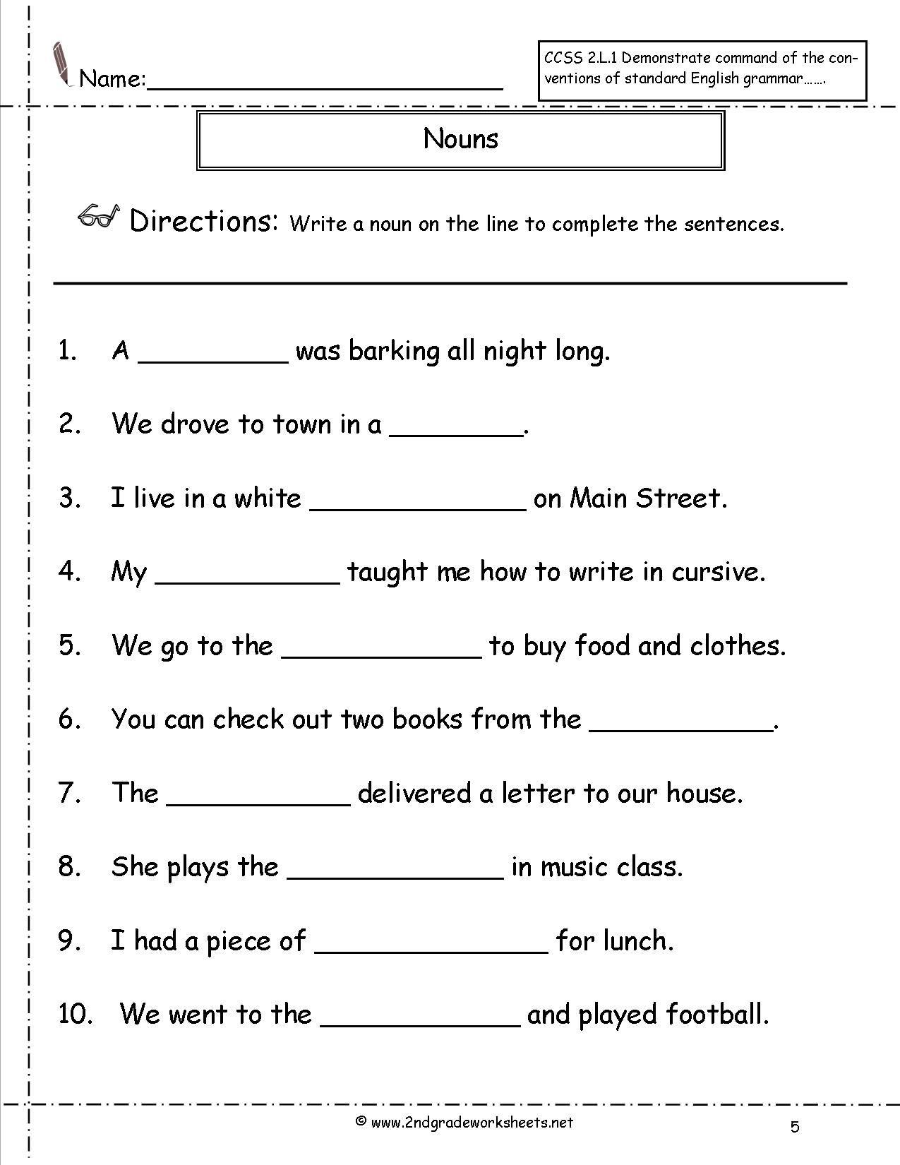 - English Grammar Noun Worksheet For Grade 1 Elegant Nouns