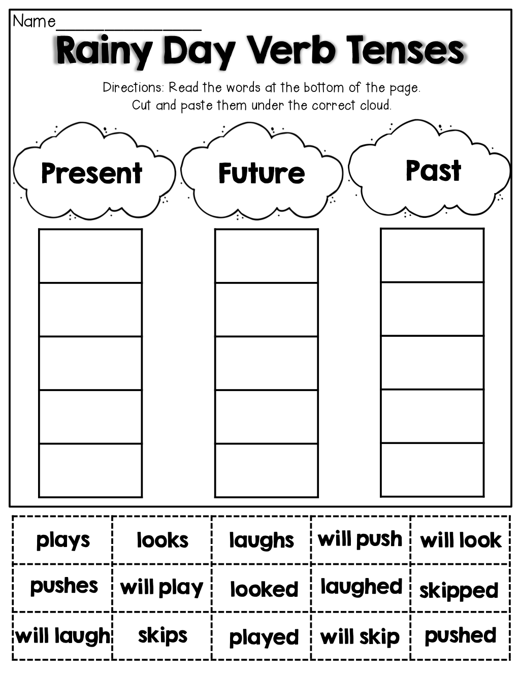 - Verb Tenses (cut And Paste) English Worksheets 2nd Grade