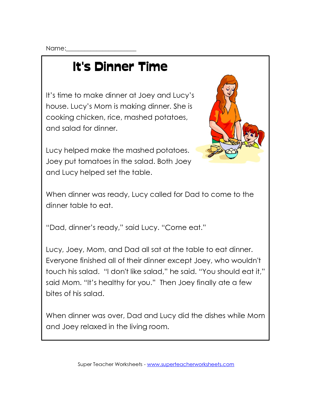 - Free Printable Reading Comprehension Worksheets For Kindergarten