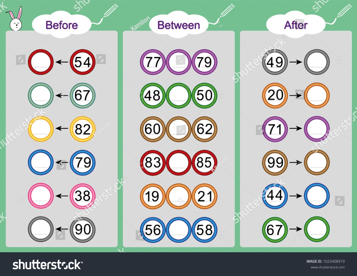 - What Comes Before-between And After, Math Worksheets For Kids
