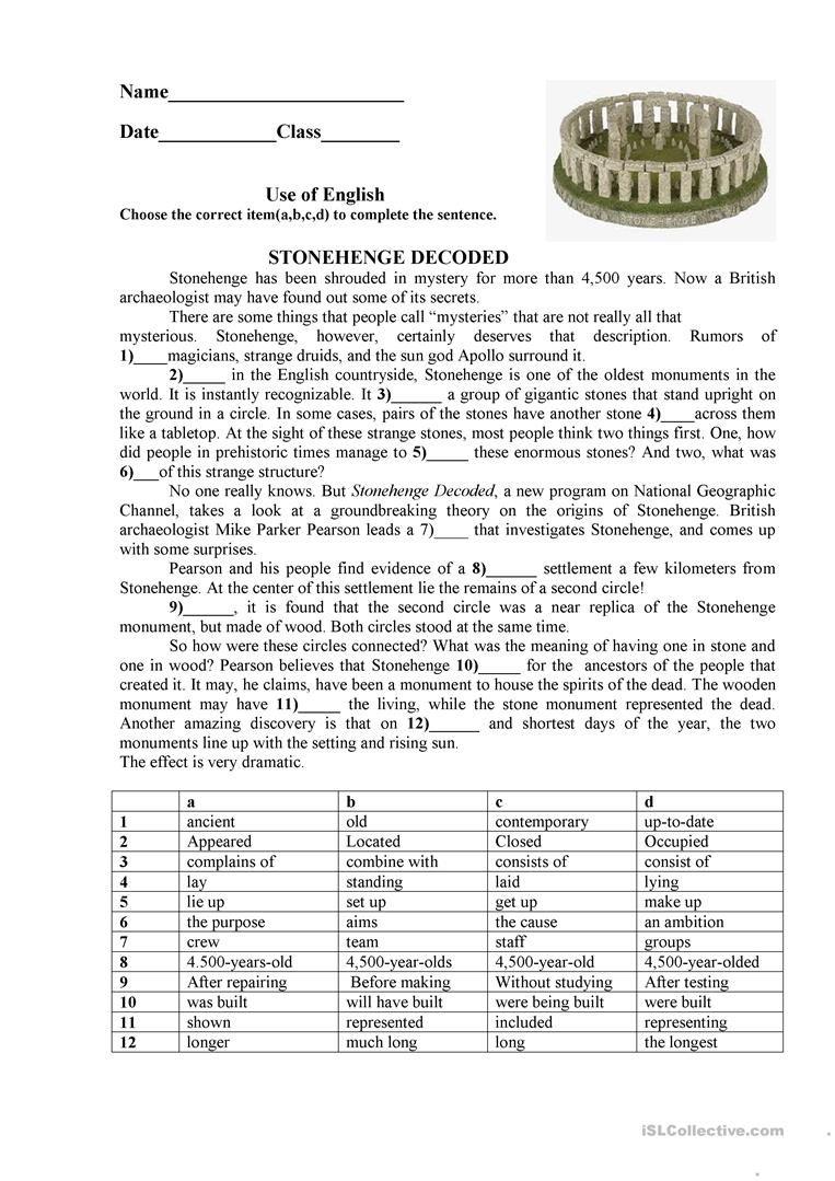 - Stonehenge Worksheet - Free Esl Printable Worksheets Made By On