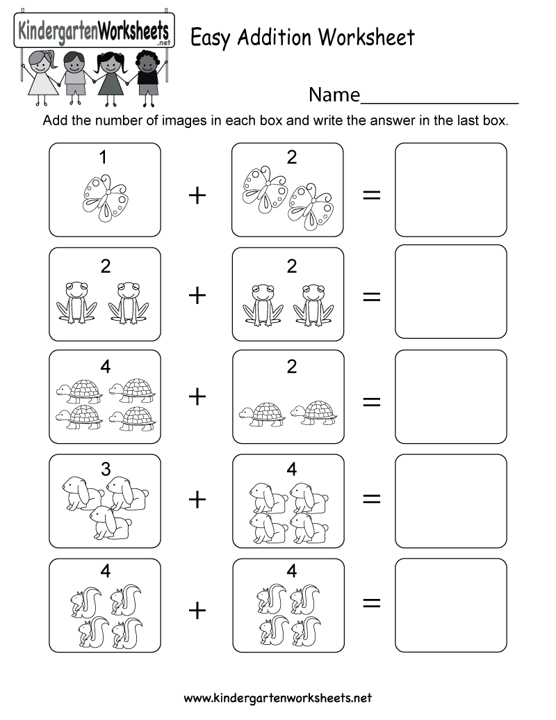 - Kindergarten Easy Addition Worksheet Printable Number Worksheets