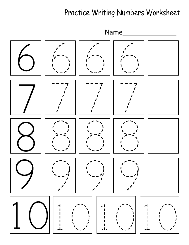 Practice Writing Numbers Worksheets For Kids   Learning Printable