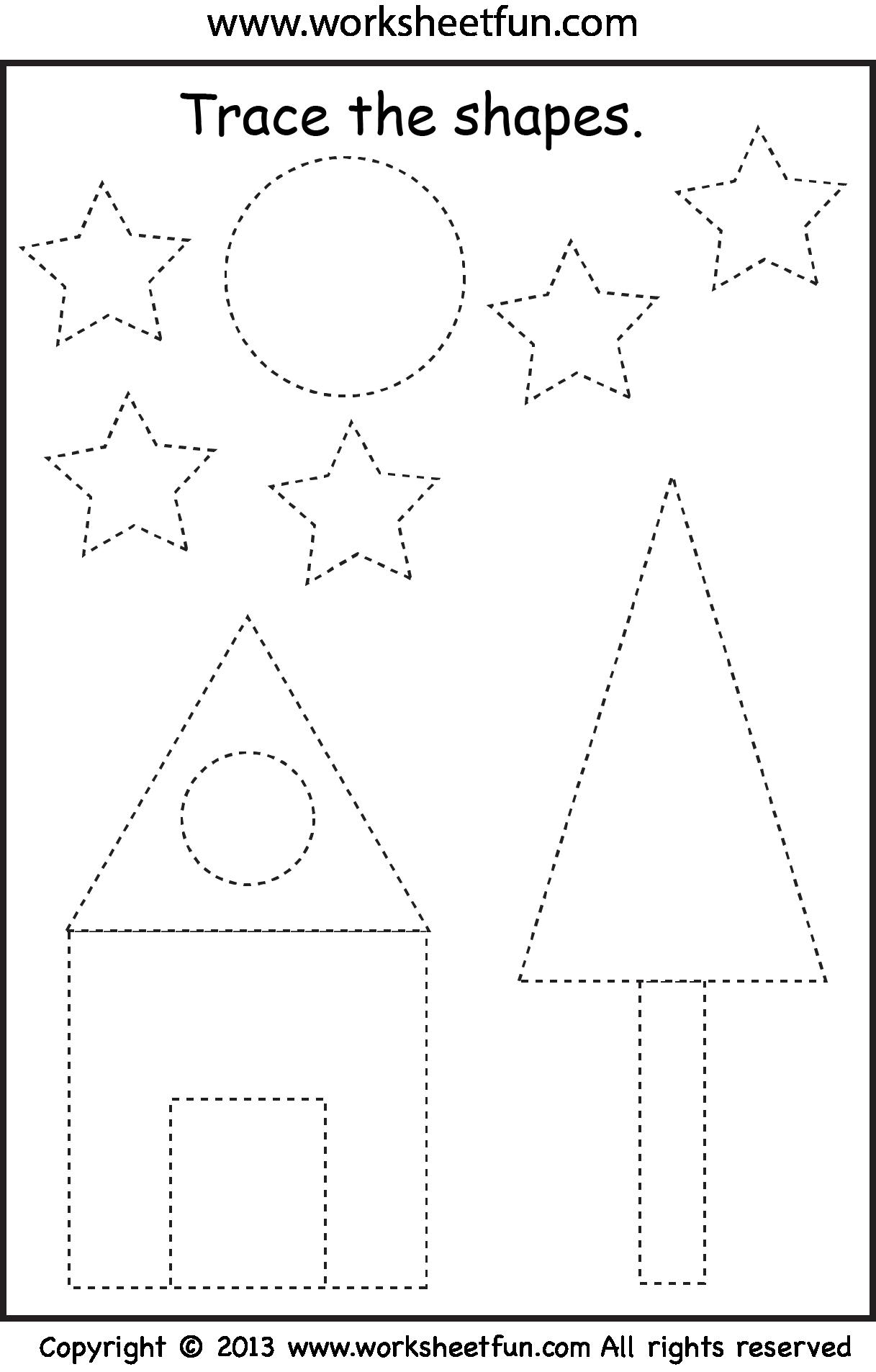Preschool Shape Tracing | Alfabet | Preschool Worksheets, Shapes