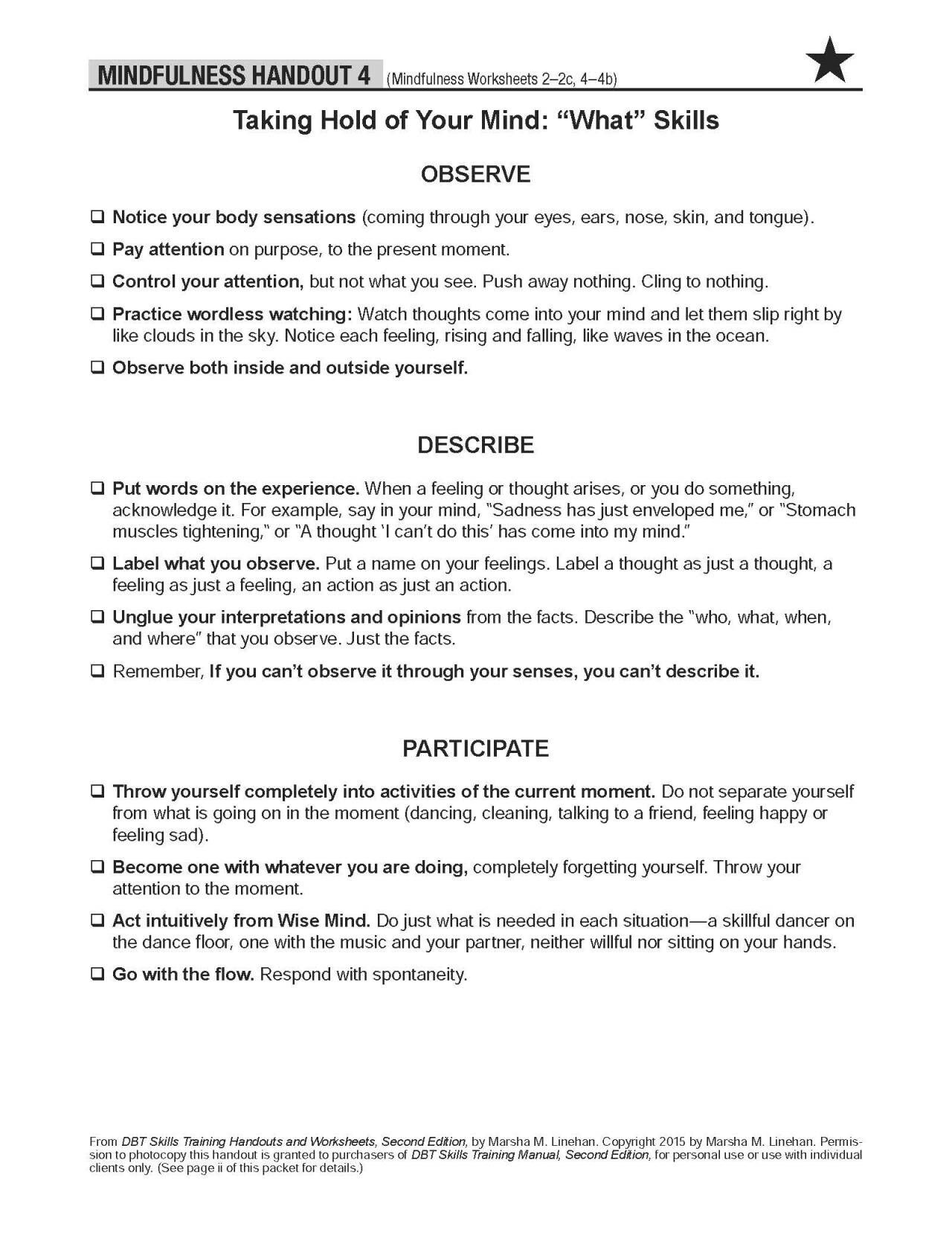 Mindfulness Handout 4 Dbt Skills Counseling Worksheets Group