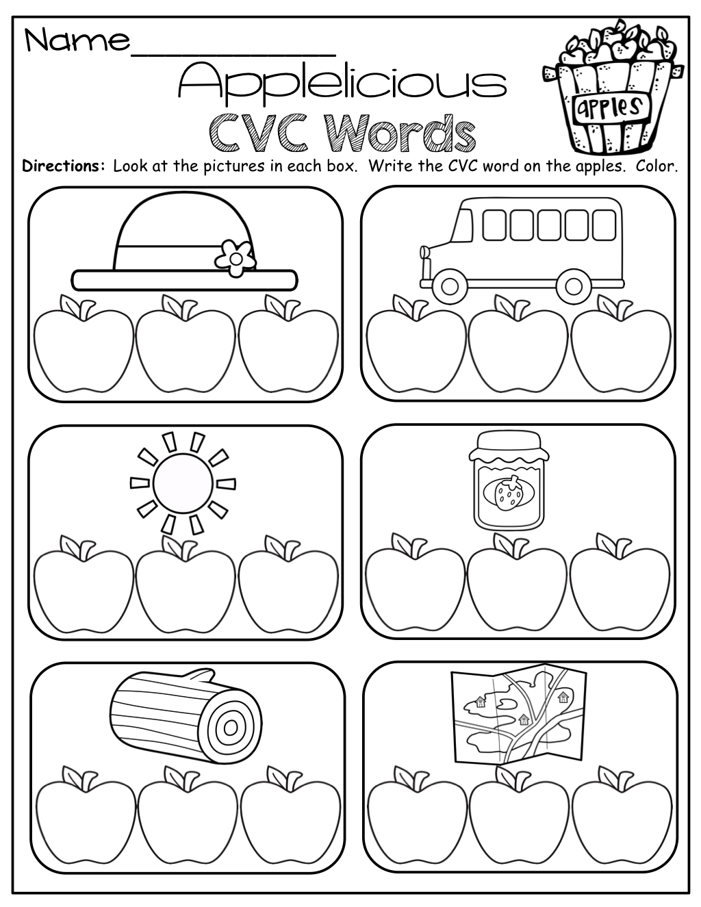 Kindergarten Printable Cvc Words Worksheets