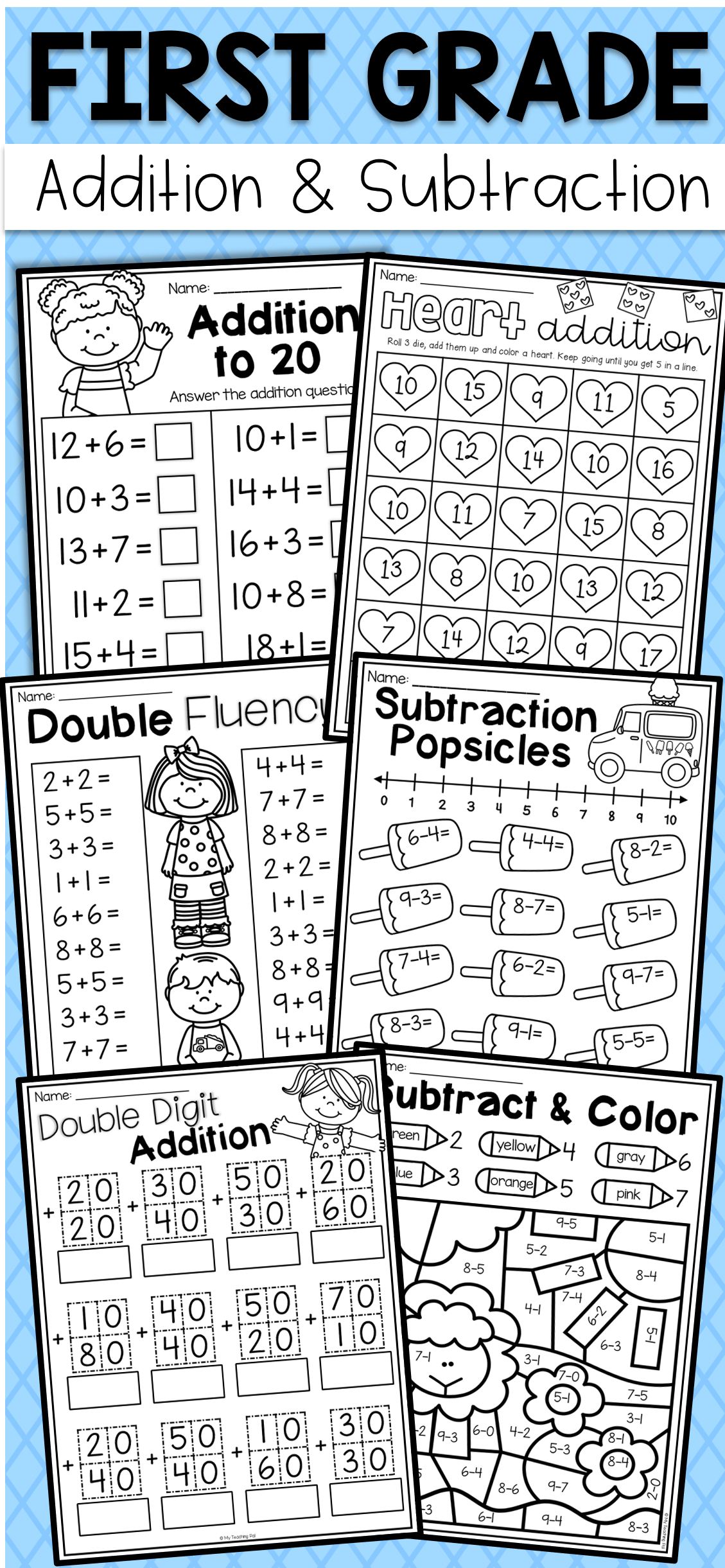 First Grade Addition And Subtraction Worksheets | First Grade