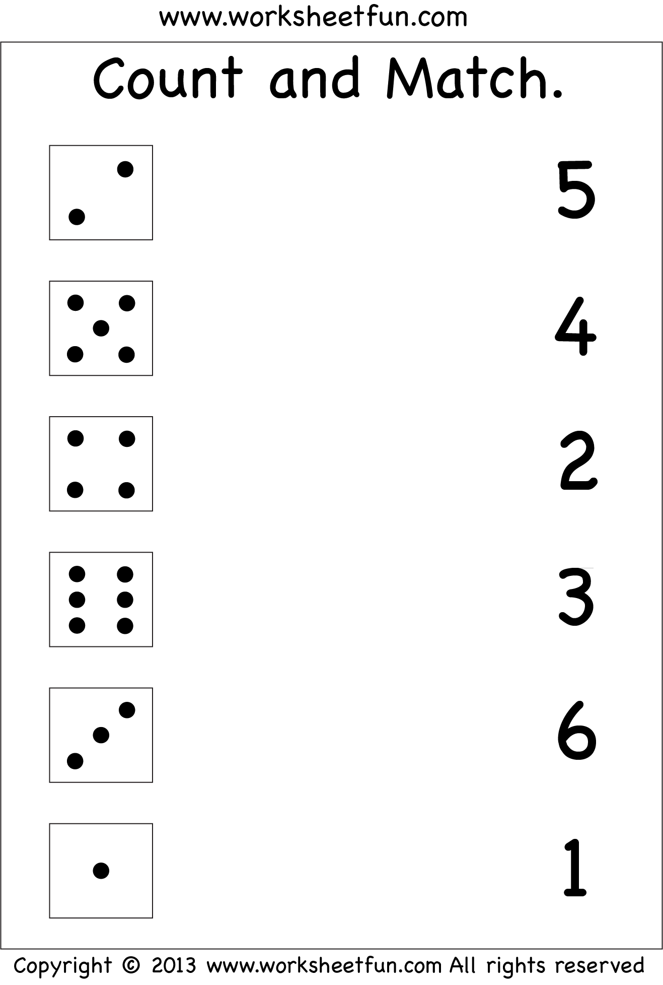 Numbers – Count And Match / Free Printable Worksheets – Worksheetfun