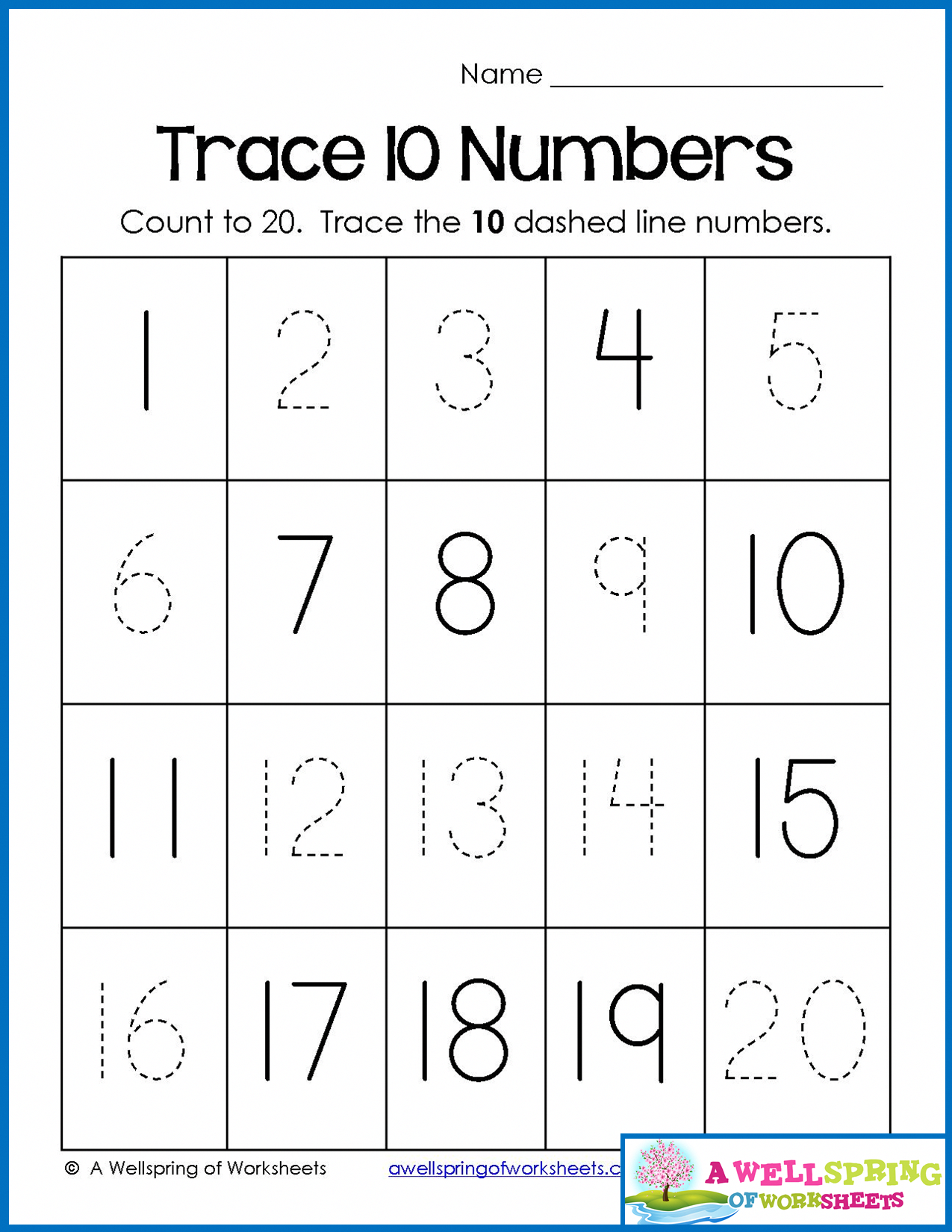 Trace, Write And Fill In Numbers 1-20 30 Worksheets & 3 Counting