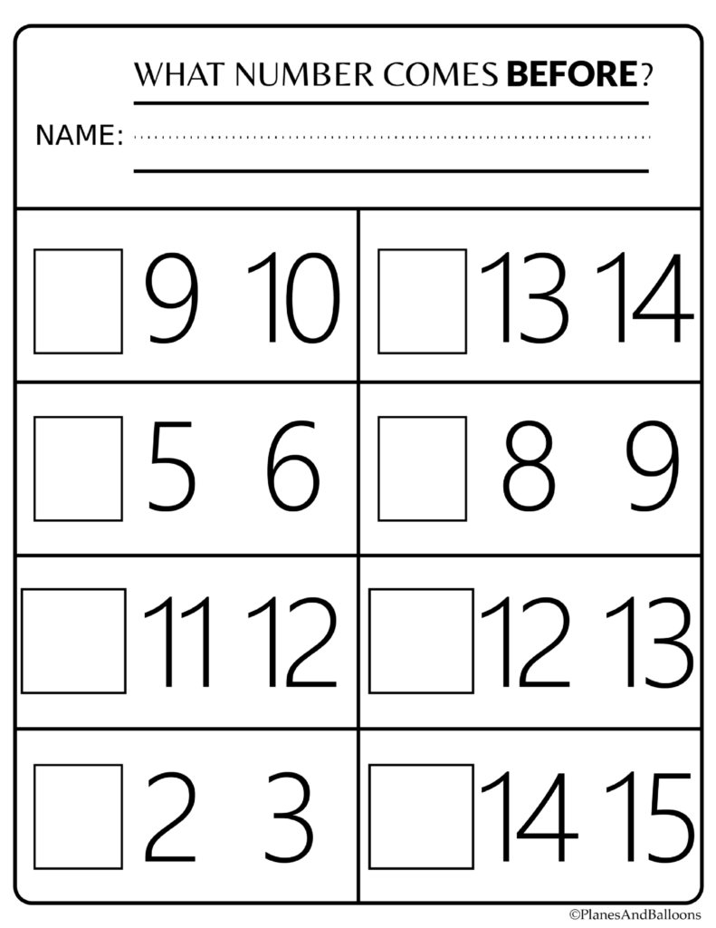 Number Order Kindergarten Free Printable Worksheets: Numbers 1-20