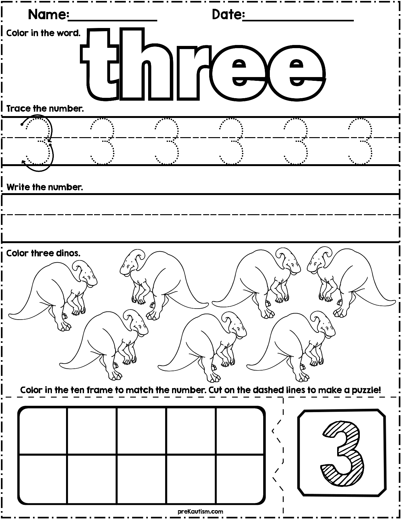 Dinosaur Count & Write Math Worksheets | Autism Activities For Ages