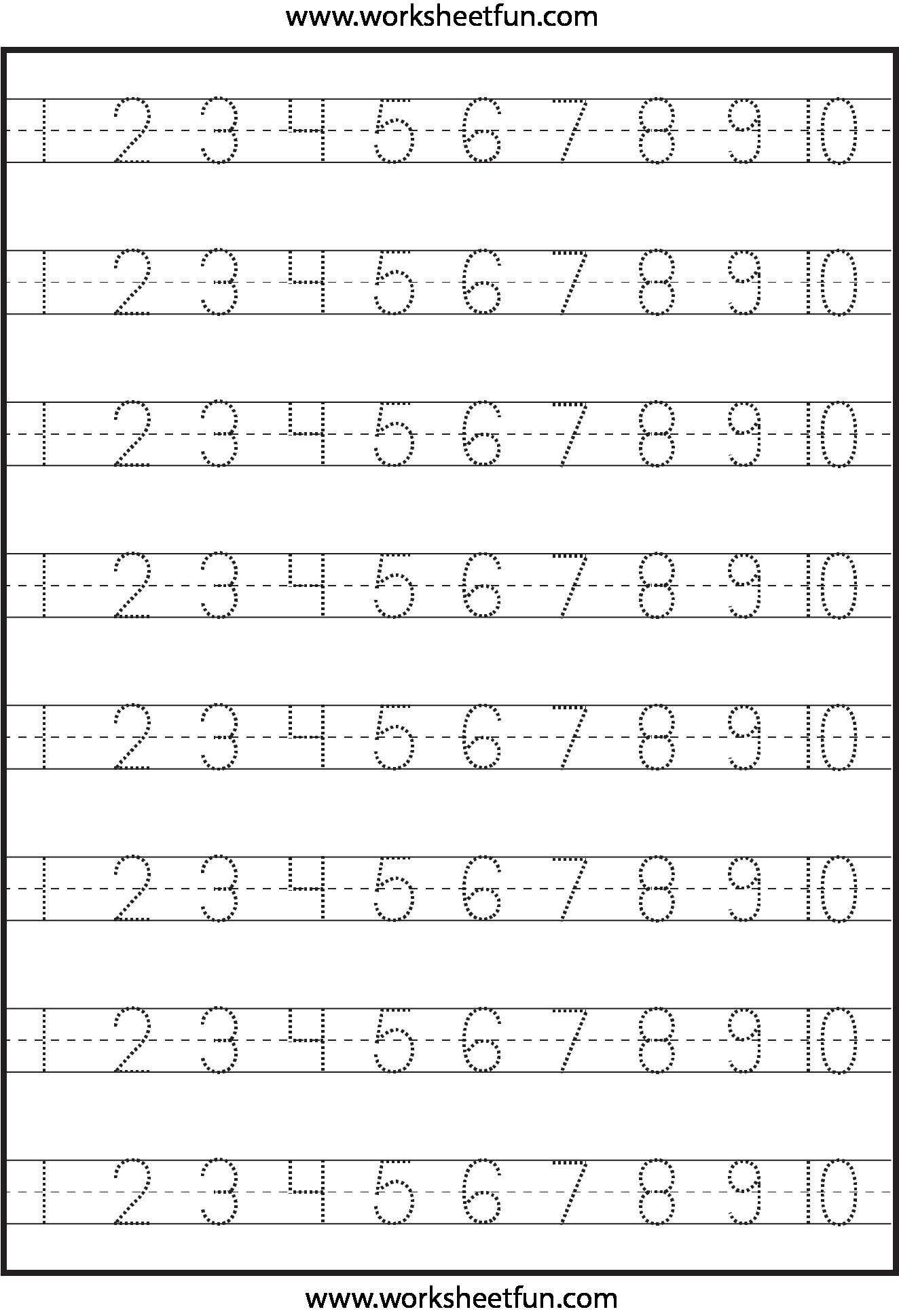 Number Tracing 1-10 - Worksheet   Summer   Kindergarten Worksheets