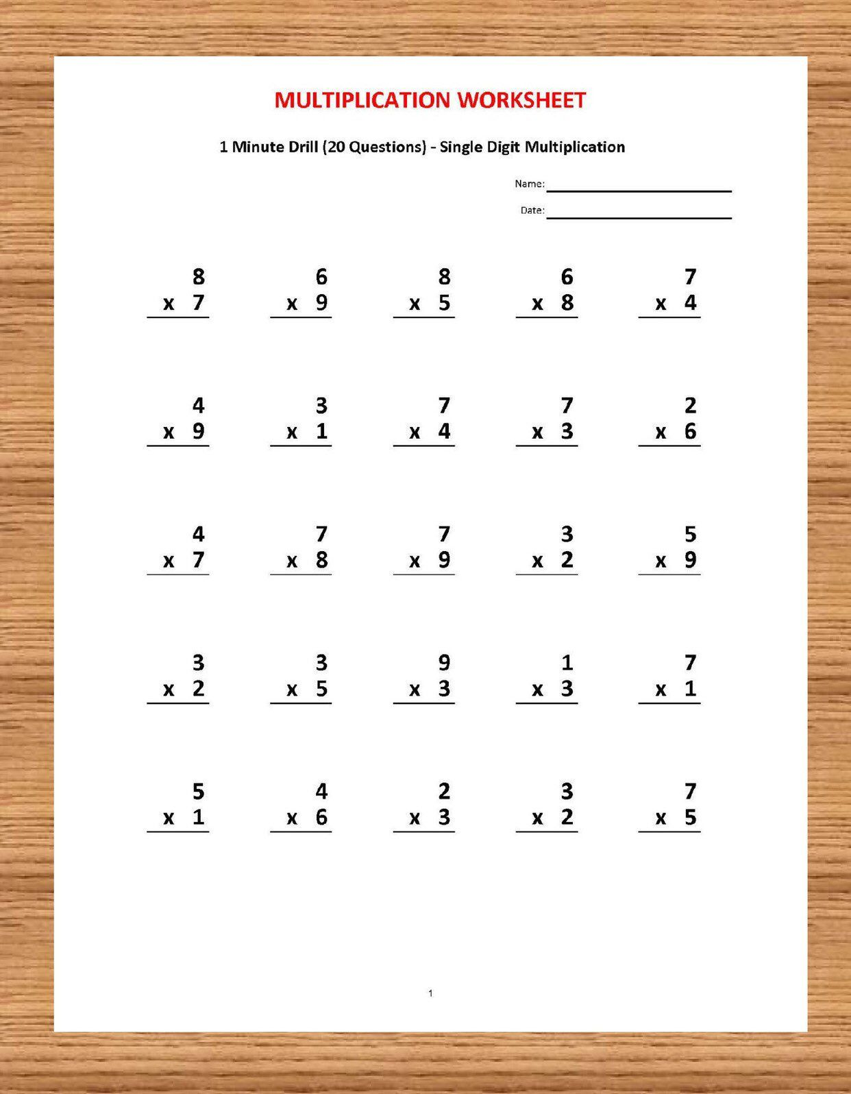 20 Best 1 And 2 Digit Multiplication Worksheets images on ...