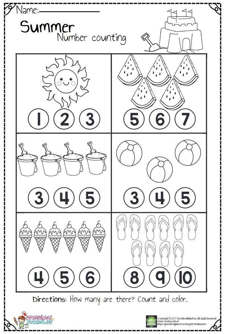 - Counting Worksheets Hs For B Summer Worksheets, Kindergarten