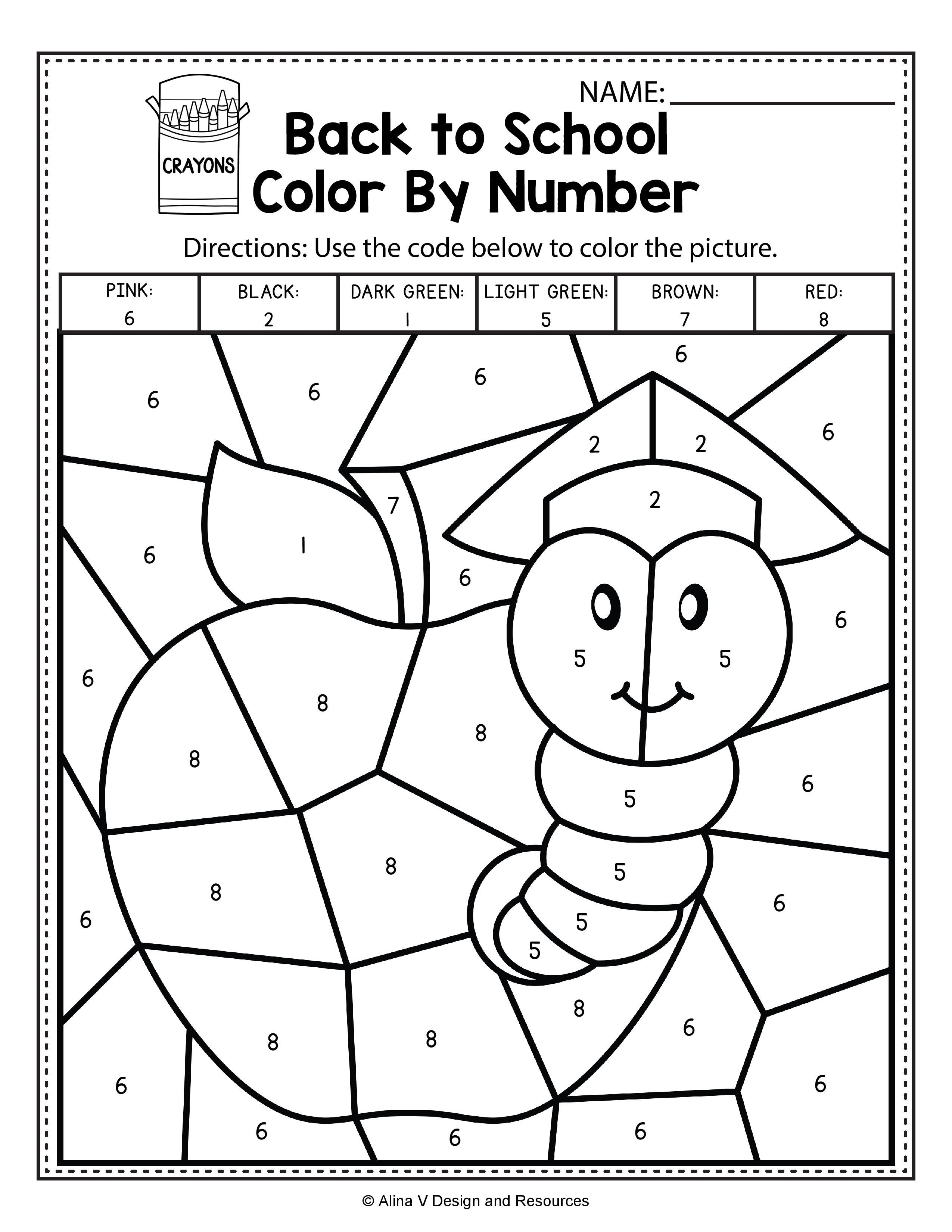 - Back To School Color By Number Math Worksheets And Activities For