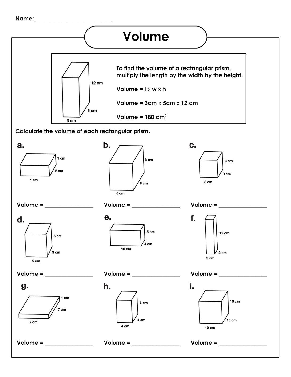 Rectangular Prism Volume - 5th Grade Math Worksheets | K5 Worksheets