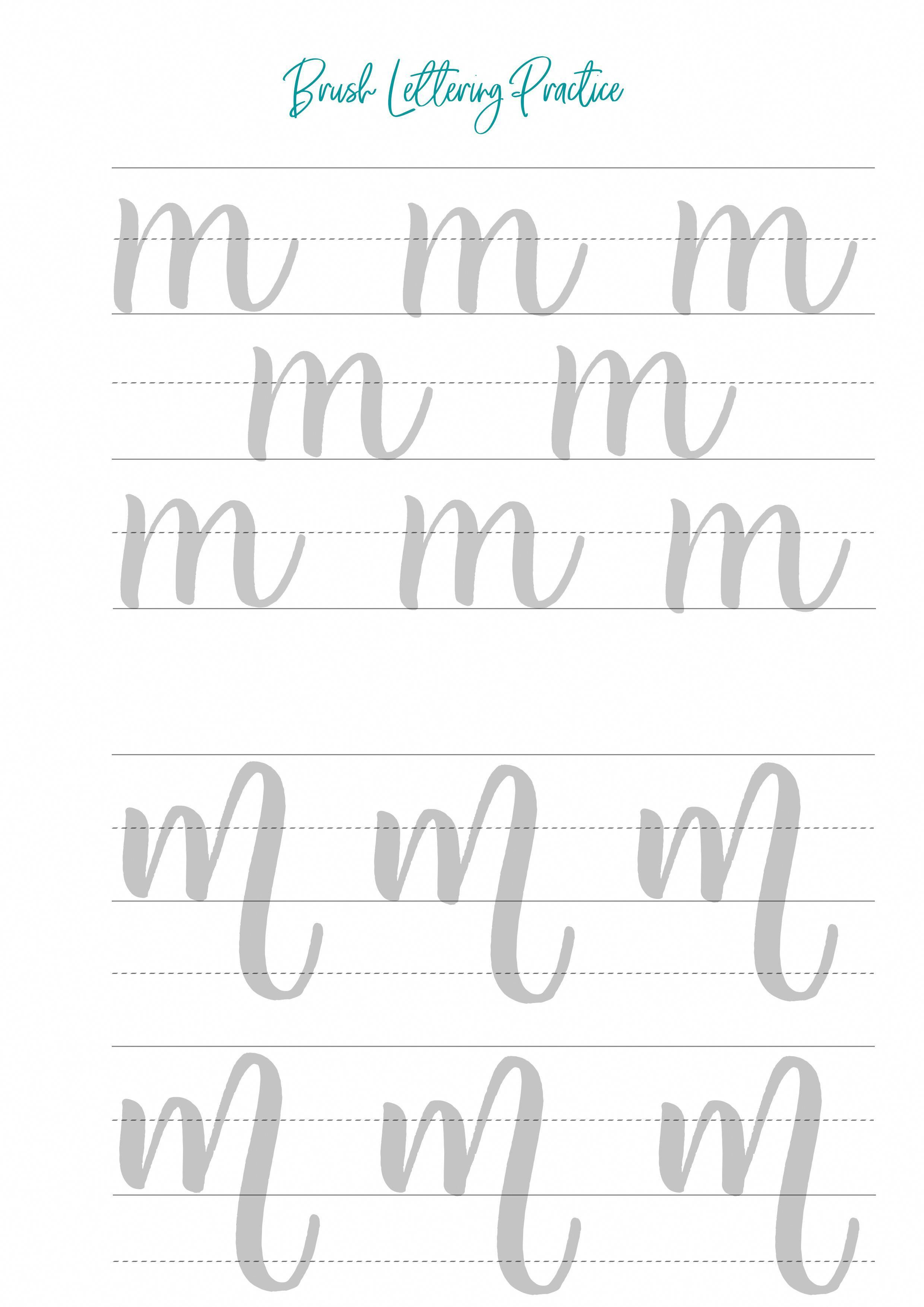 - Brush Lettering Worksheets, Modern Calligraphy Worksheets, Brush