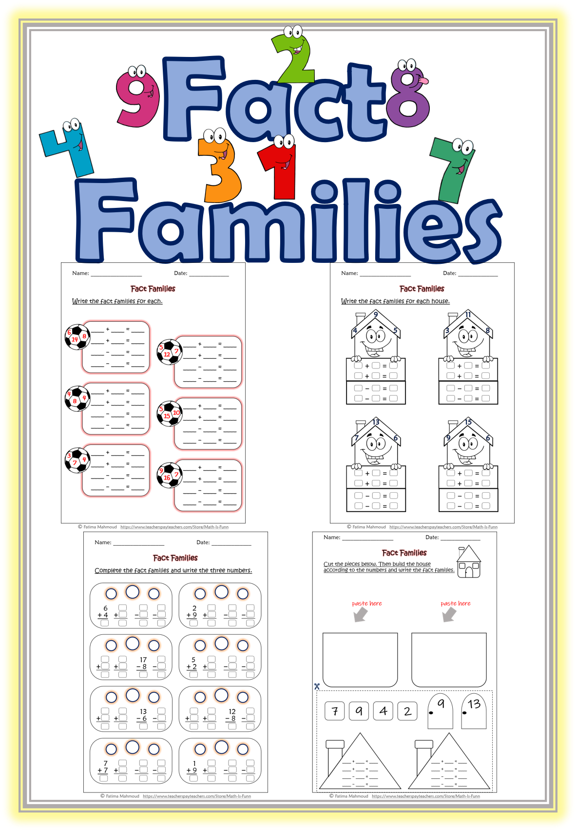 - Fact Families Worksheets Math: Fact Families Fact Family On