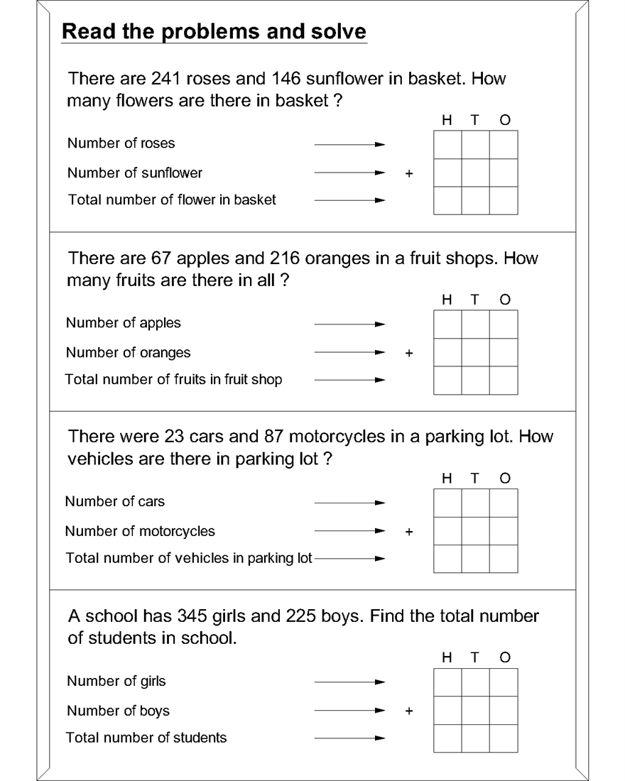 - Maths Worksheets For Addition Word Problems Maths On Best
