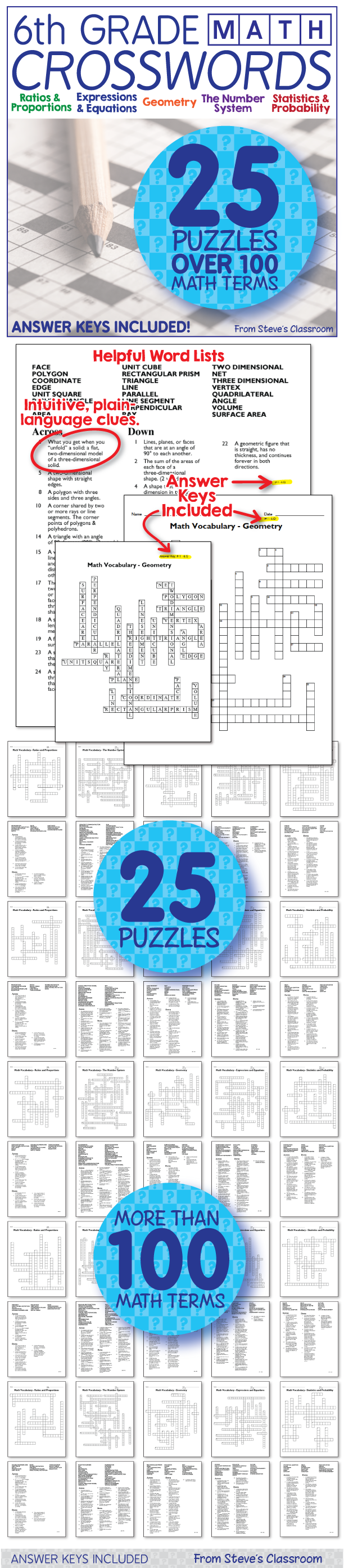 Math Worksheets - 6th Grade Math Vocabulary Crossword