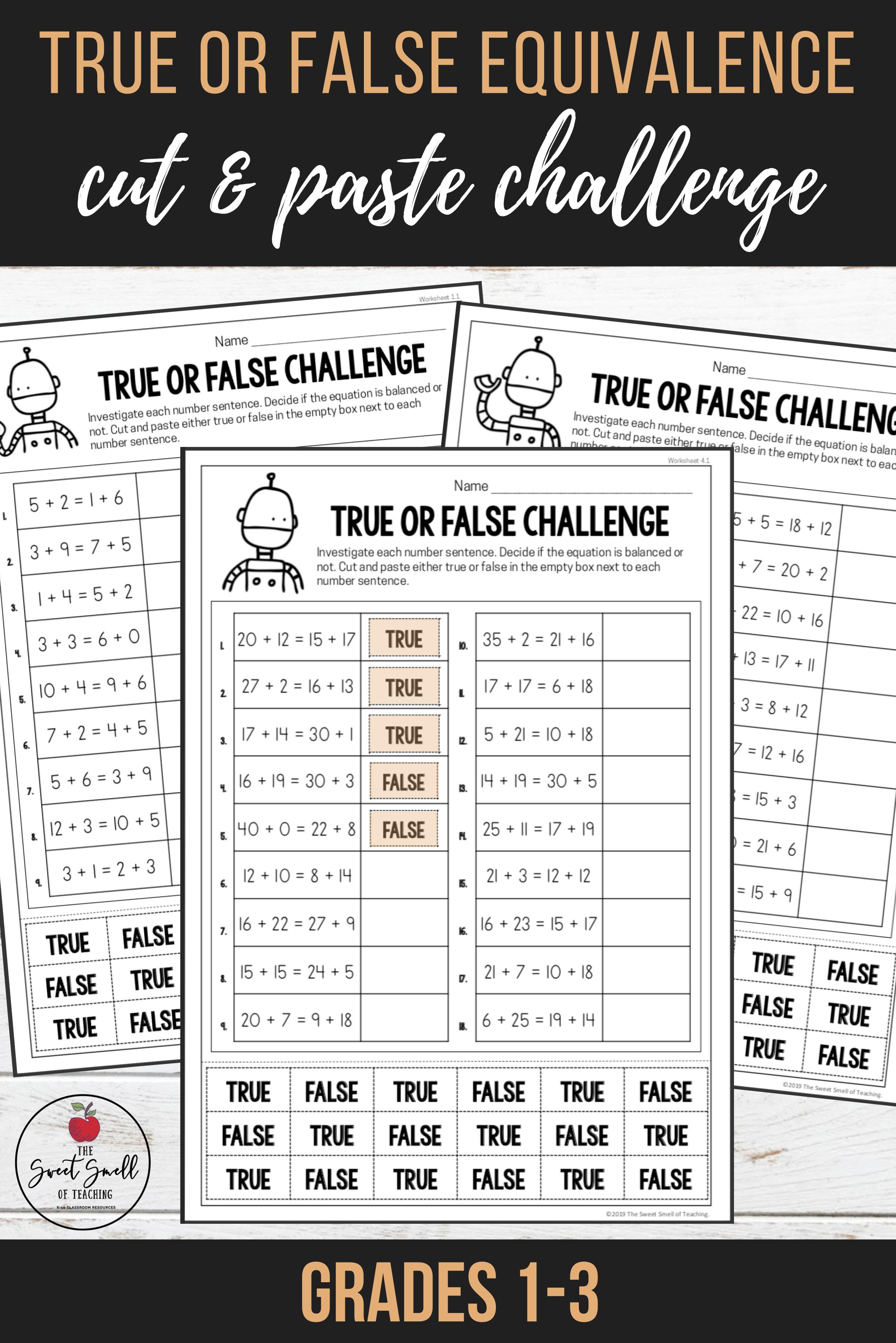 Balancing Equations - True Or False Equivalence Worksheets