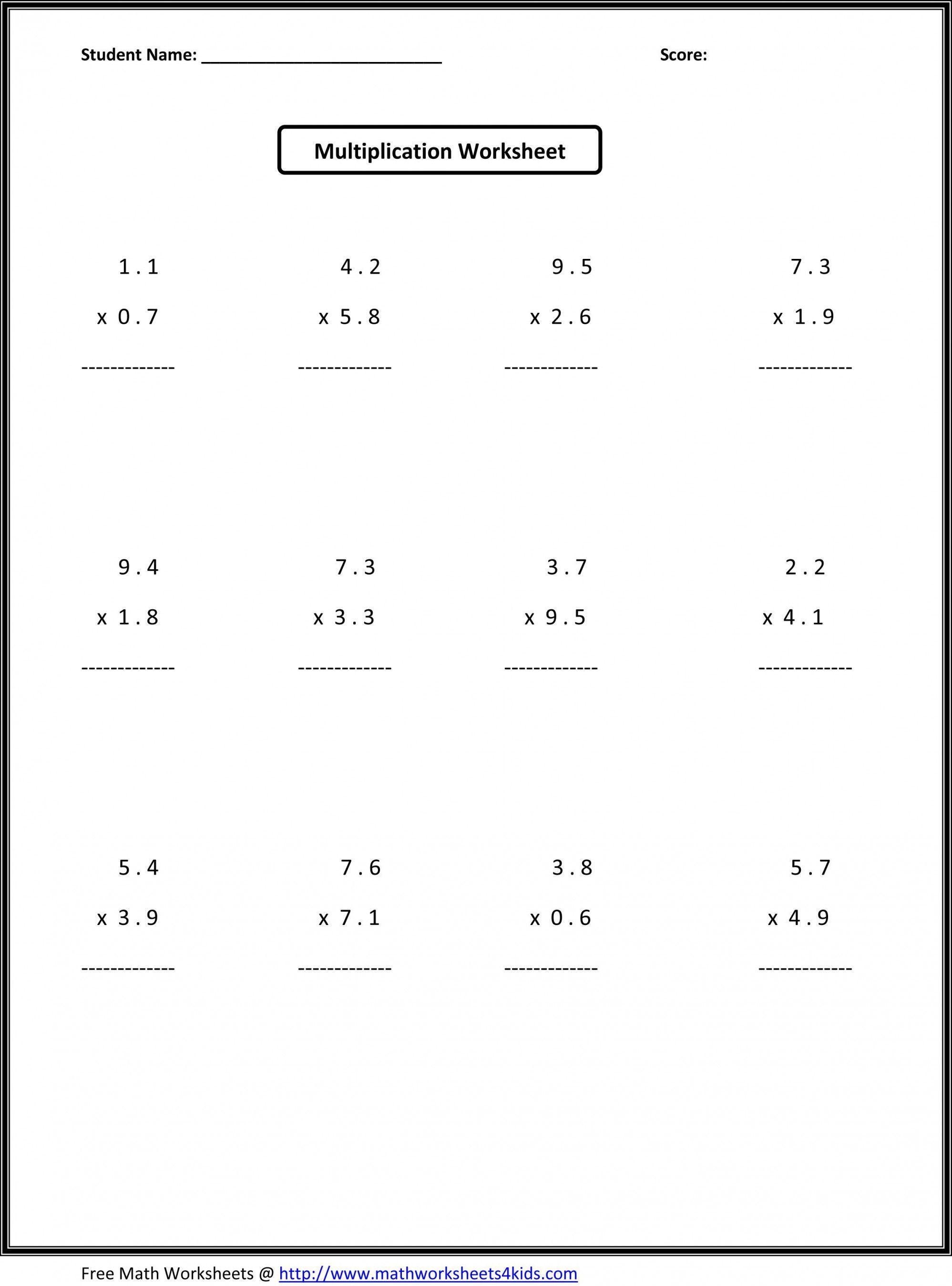 - 6th Grade Multiplication Worksheets Math 7th Grade Math On