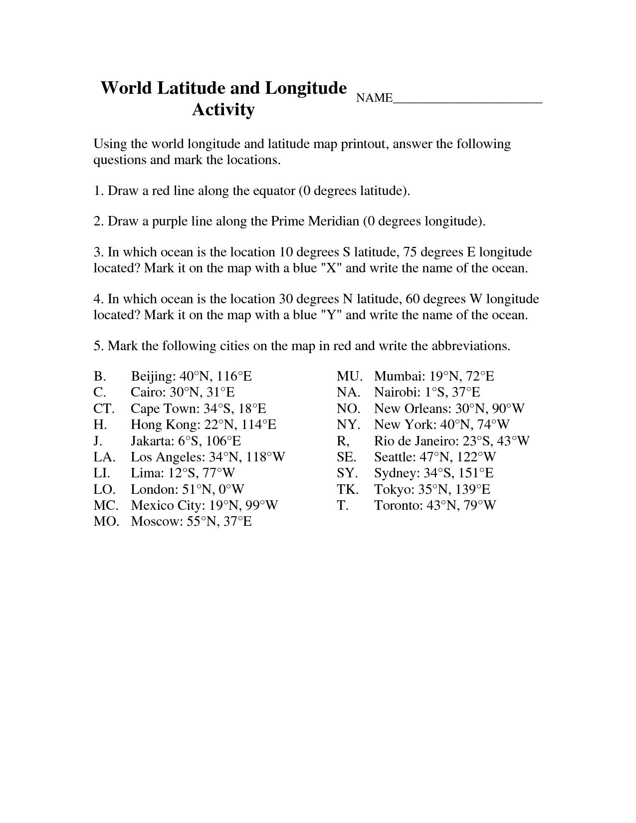 Latitude And Longitude Elementary Worksheets   World Latitude And