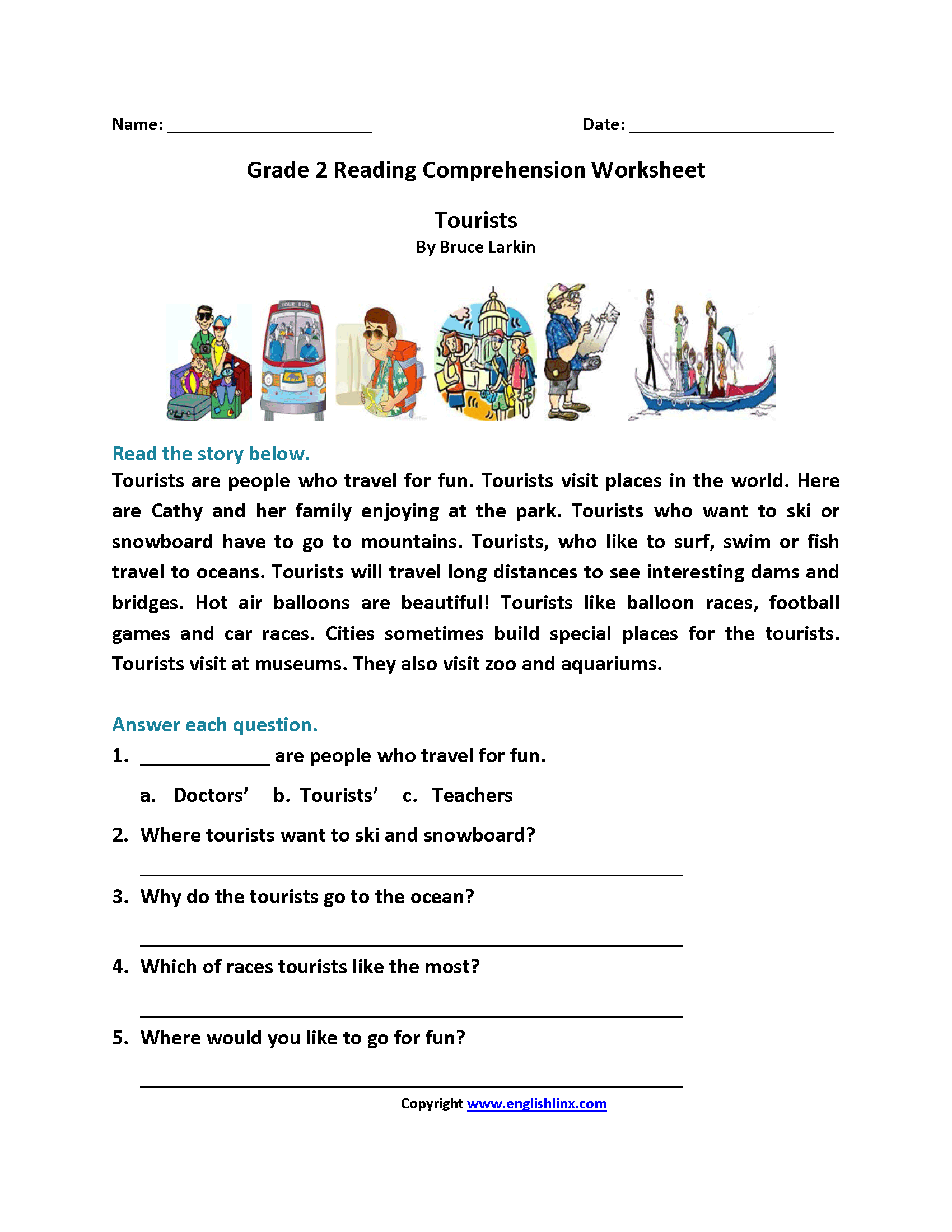 - Tourists Second Grade Reading Worksheets English Alfabeto Em
