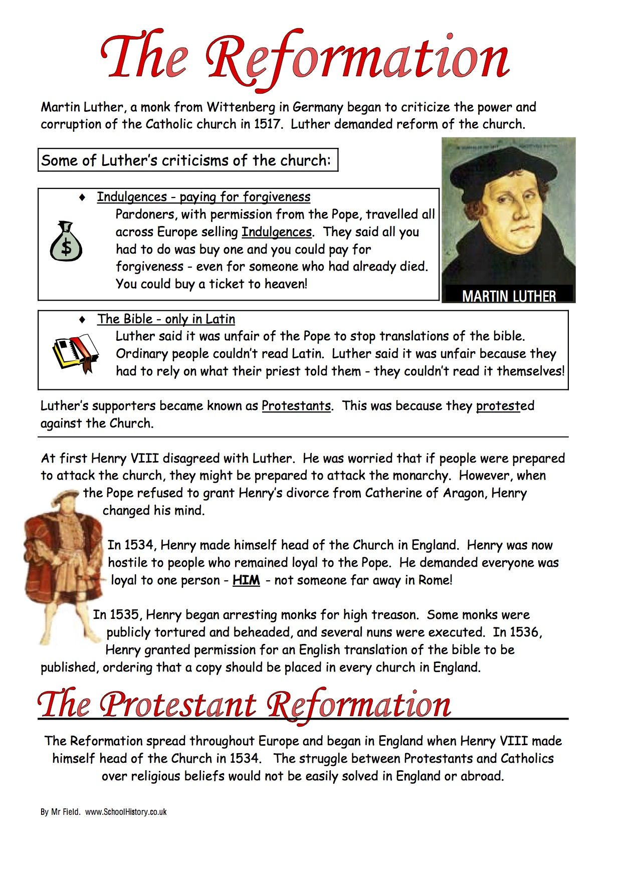 - English Reformation Worksheets Ks3 & Ks4 Lesson Resources On