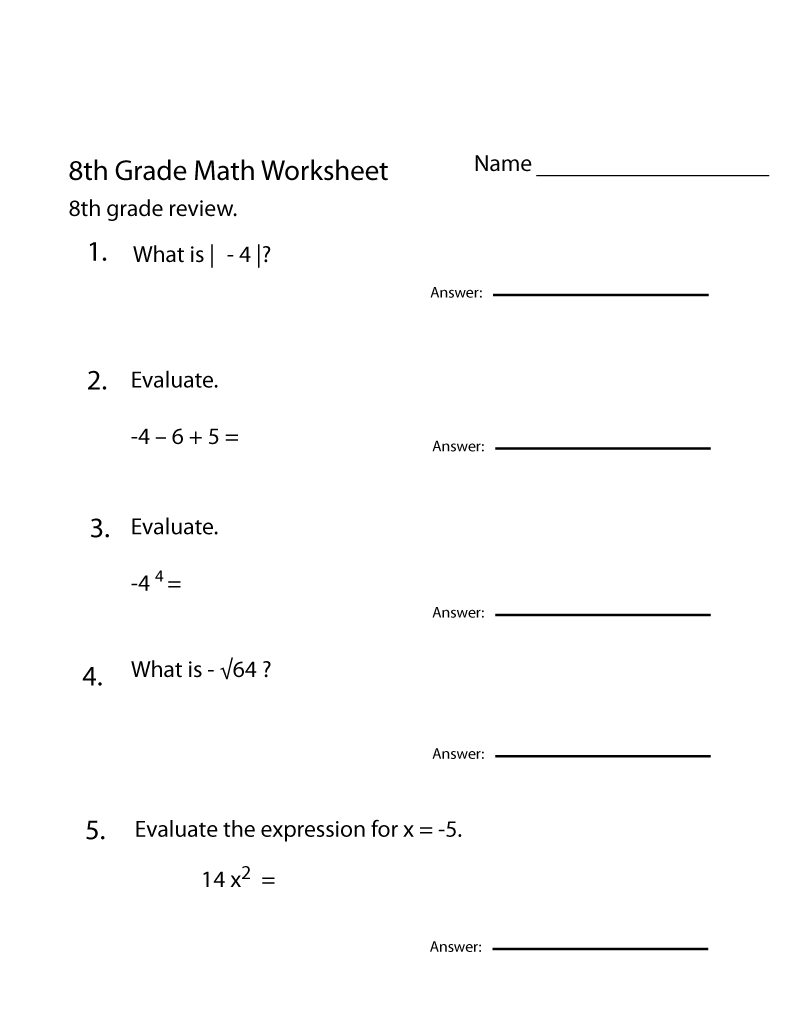 - Grade 8 Math Worksheets 8th Grade Math Worksheets, Kids On Best