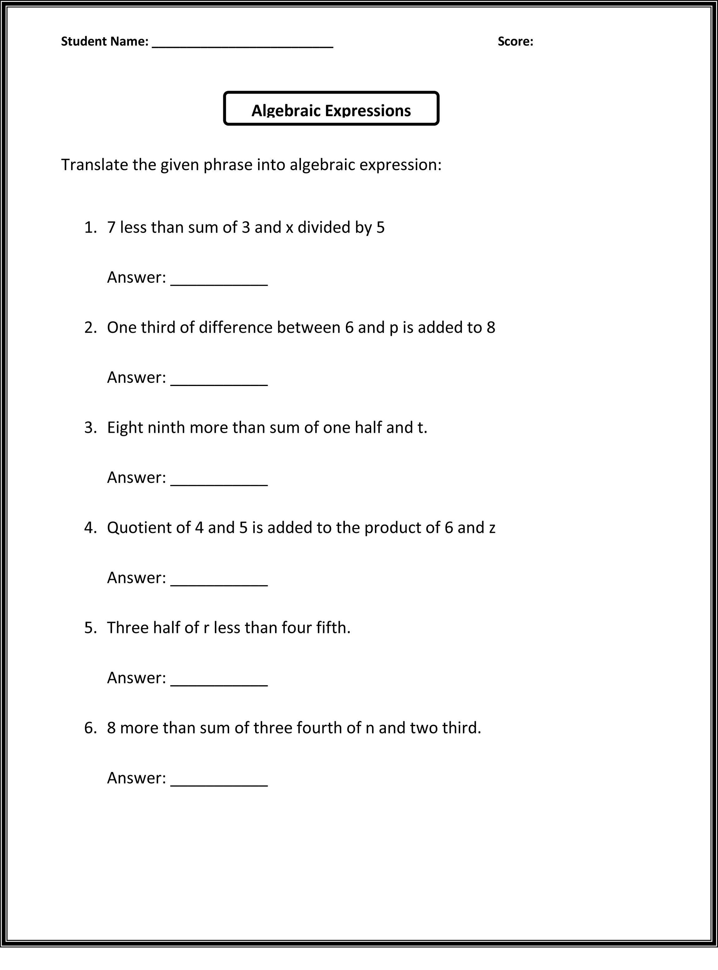 - 6th Grade Worksheets To Print Algebra Worksheets, Math On Best