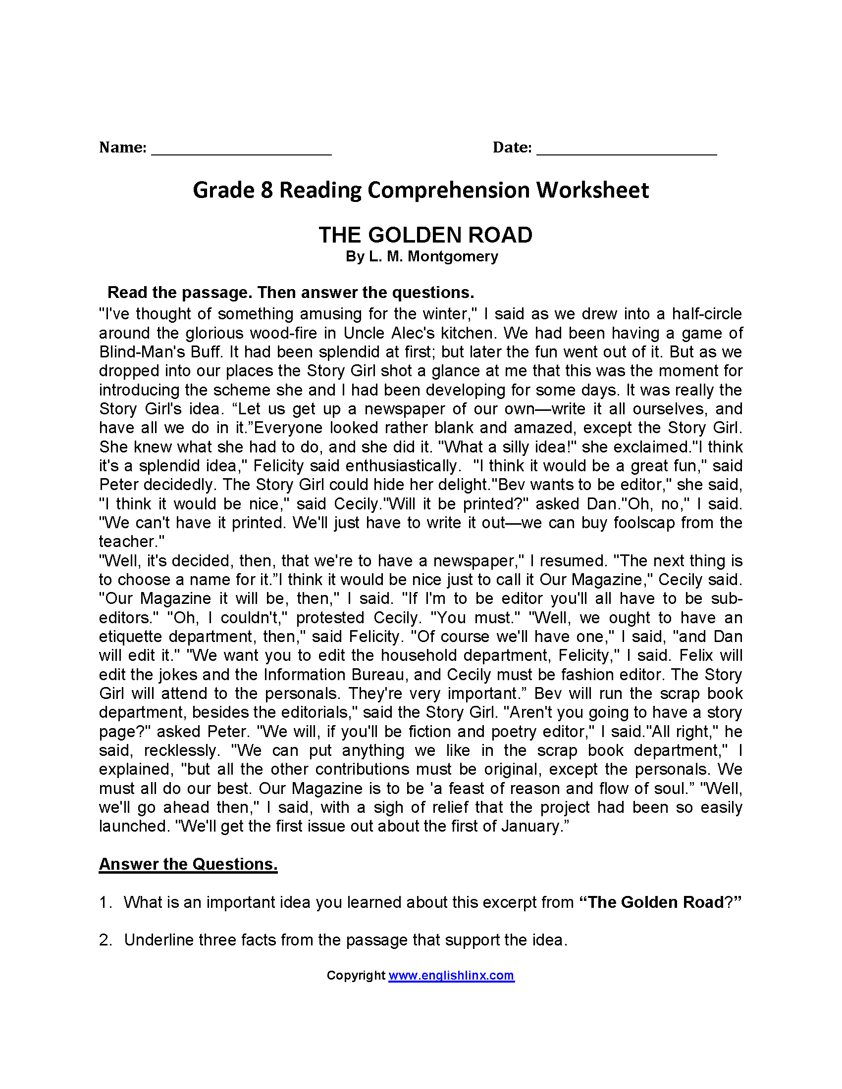 - The Golden Road Eighth Grade Reading Worksheets Reading On Best