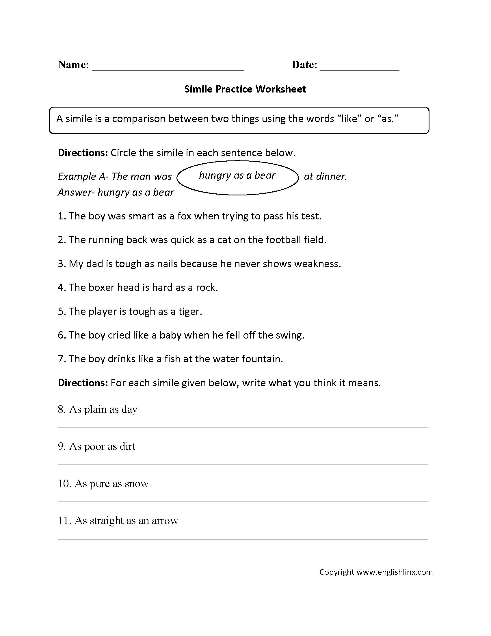 Simile Figurative Language Worksheets | Figurative Language