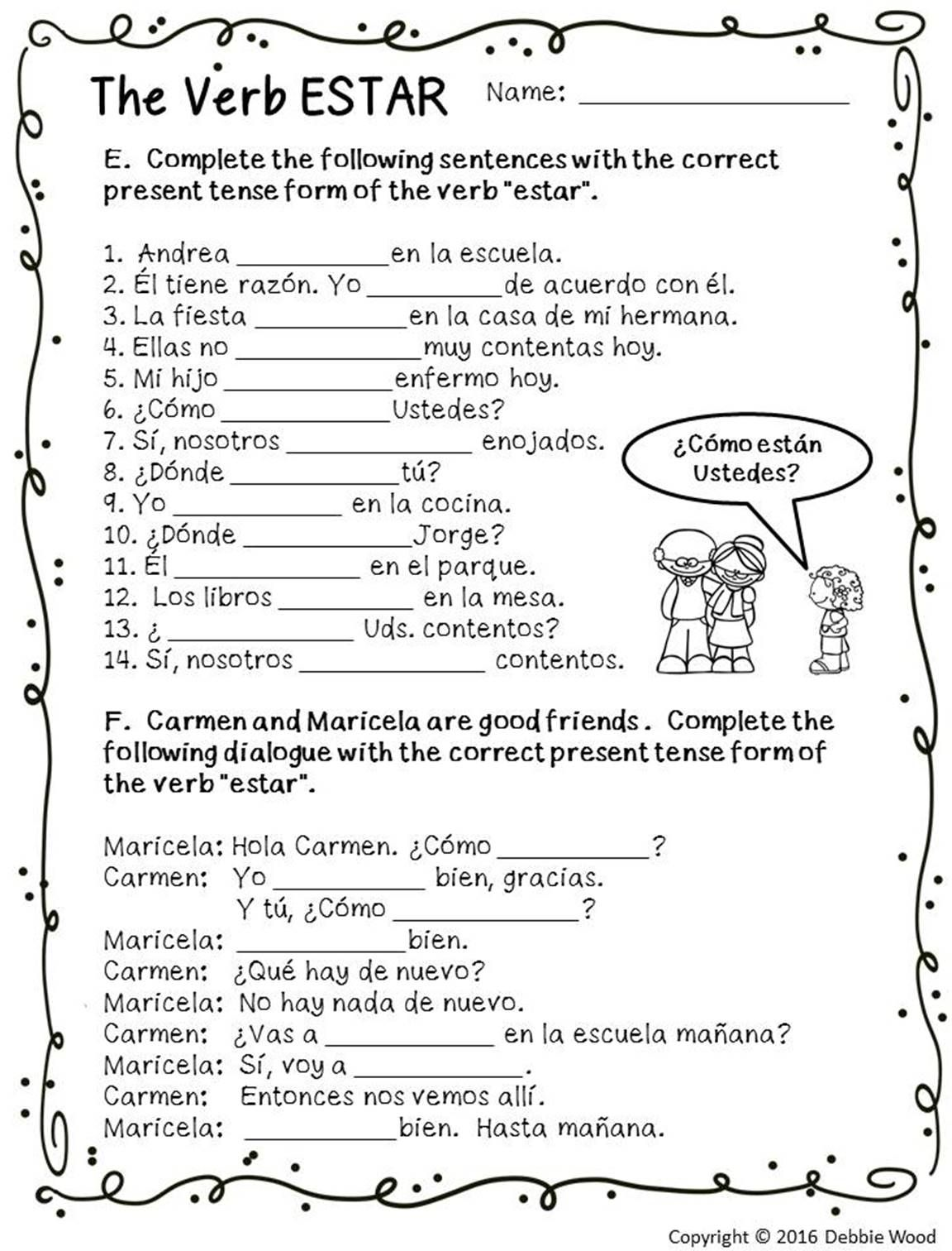 - Spanish Estar With Emotions Spanish Worksheets, Spanish On Best