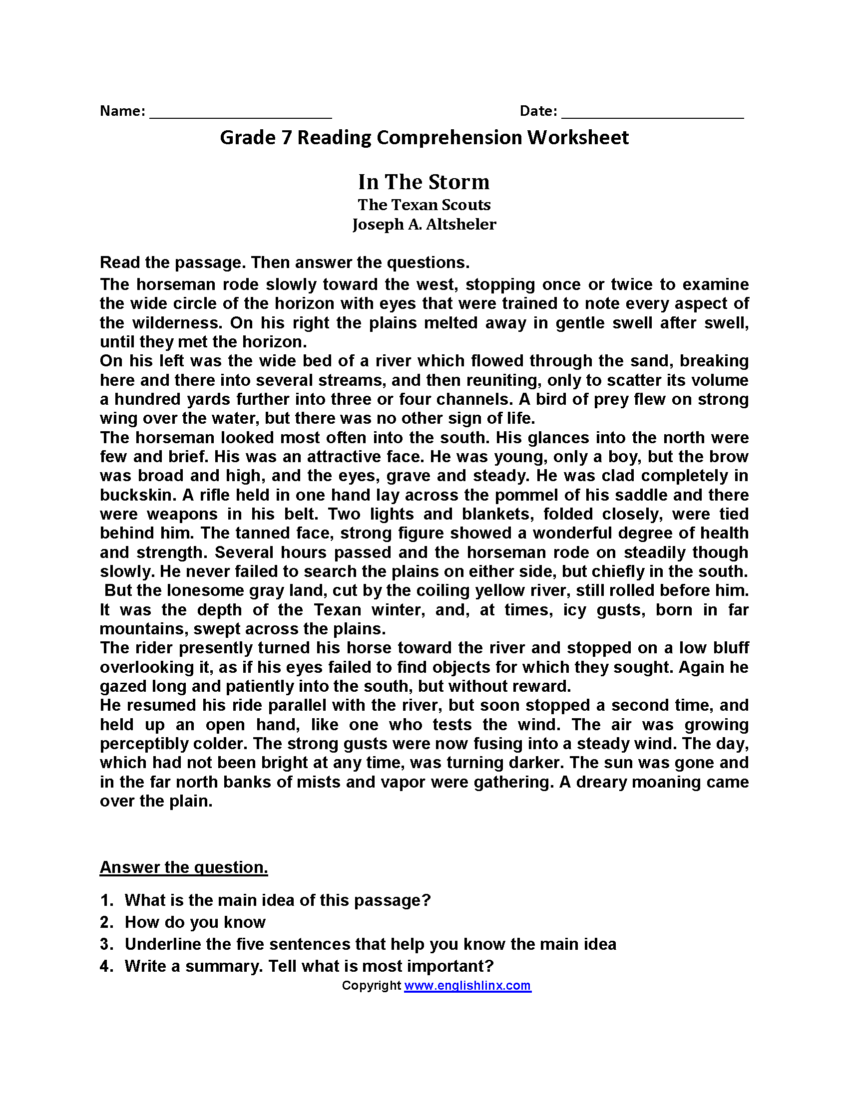 - Seventh Grade Reading Worksheets Reading Comprehension On Best