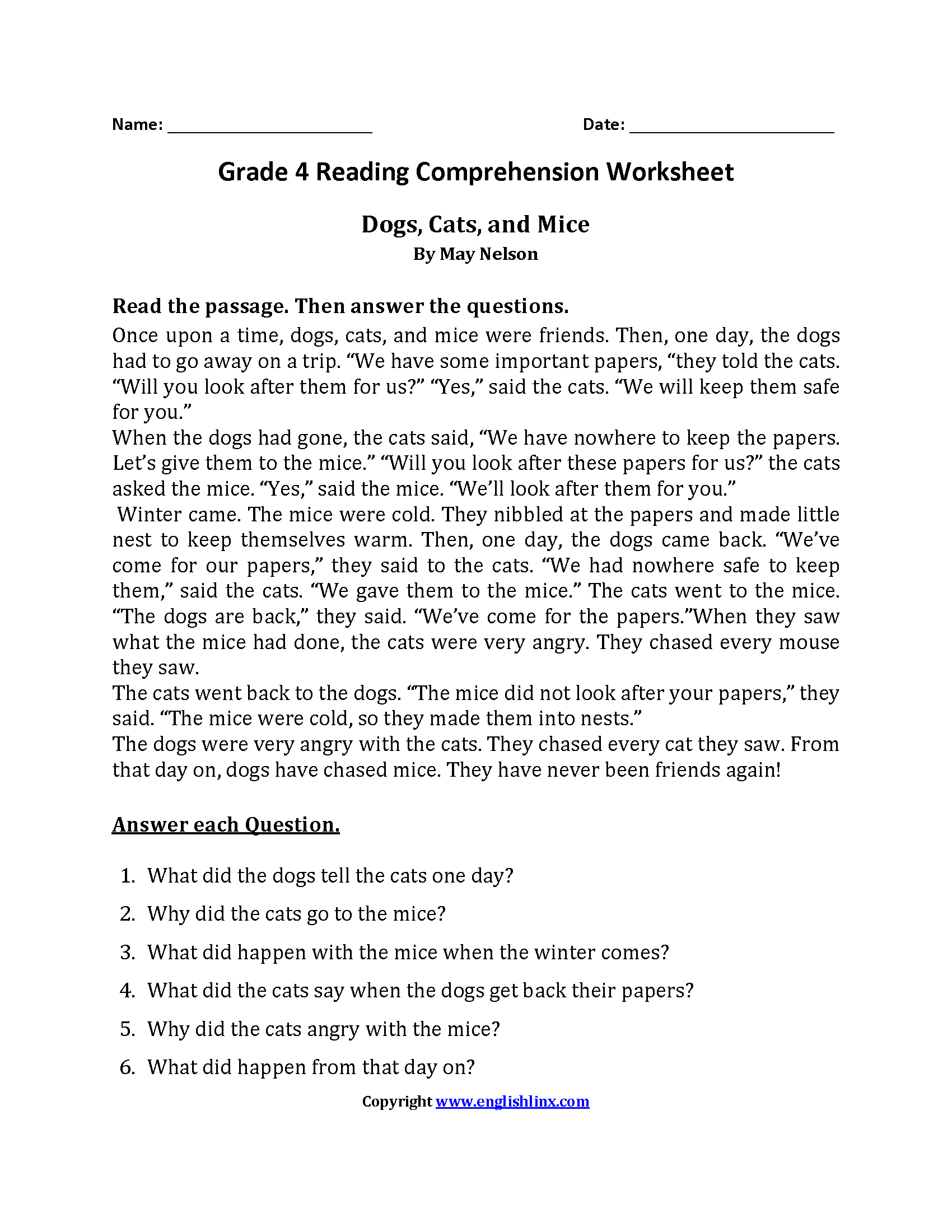 - Dogs, Cats And Mice Fourth Grade Reading Worksheets On Best