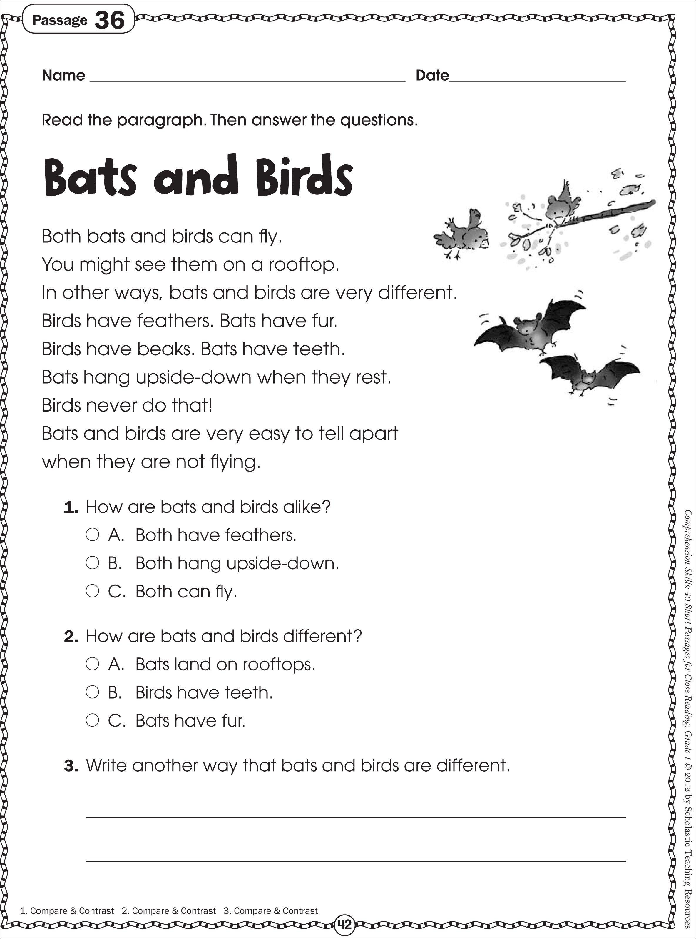 - Seventh Grade Reading Worksheets Reading Comprehension On Best
