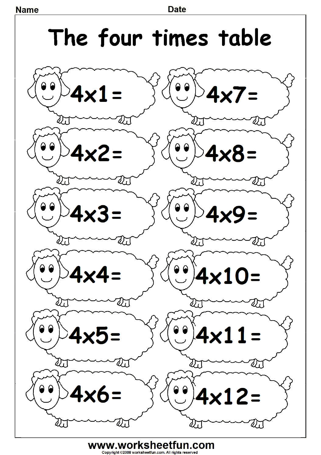 Fun Times Table Worksheets - 2, 3 & 4 | Fichas De Exercã­cios
