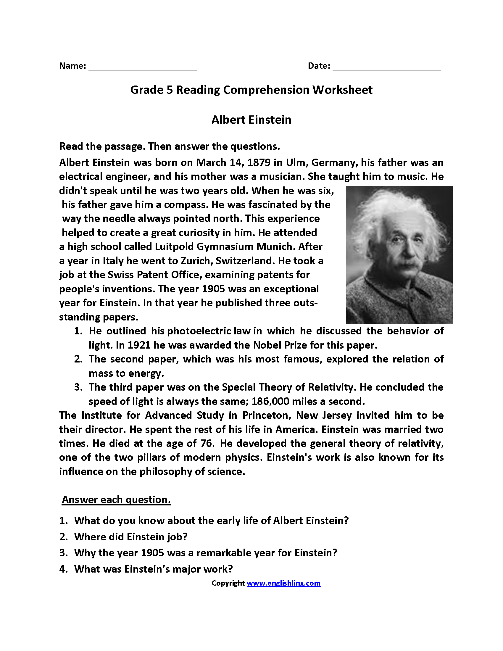 Fifth Grade Reading Worksheets | Reading Comprehension | Reading