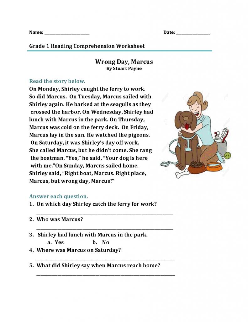 1st Grade Reading Worksheets   Reading   1st Grade Reading